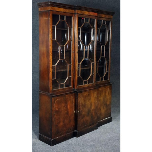 Baker Georgian Style Flame Mahogany Breakfront For Sale - Image 9 of 10