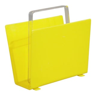 1970s Mid-Century Yellow Lucite Magazine Rack For Sale
