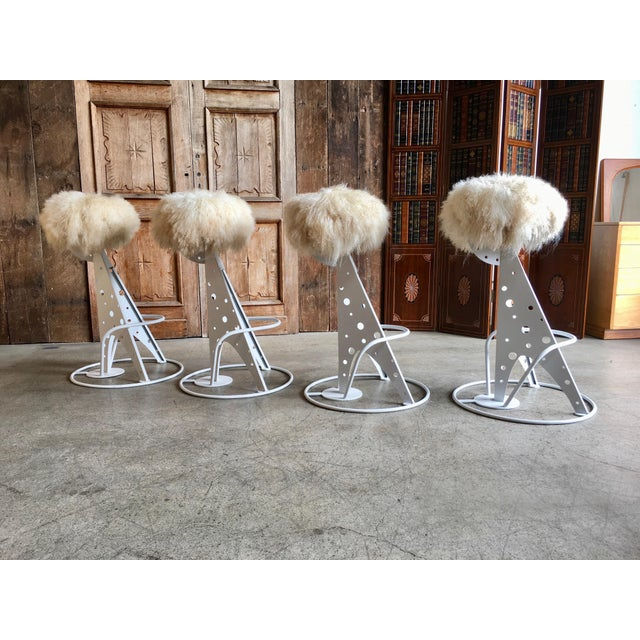 Post Modern Mongolian Wool Bar Stools - Set of 4 For Sale - Image 9 of 9