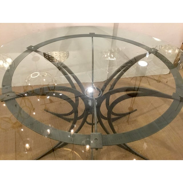 Global Views Global Views Modern Iron and Glass Revolution Dining Table For Sale - Image 4 of 5