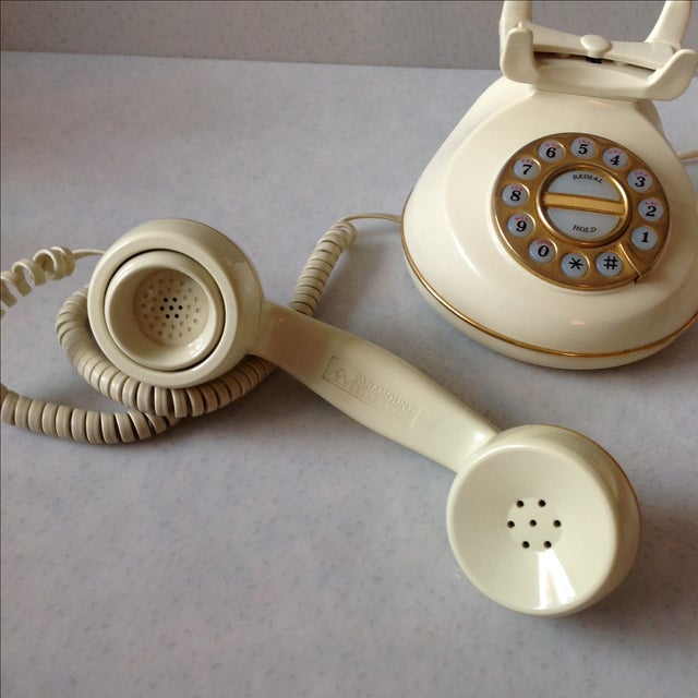 Vintage Cream and Gold Phone - Image 4 of 6