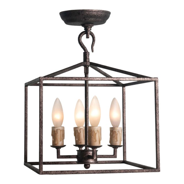 Cape Lantern Extra Small in Blackened Iron For Sale