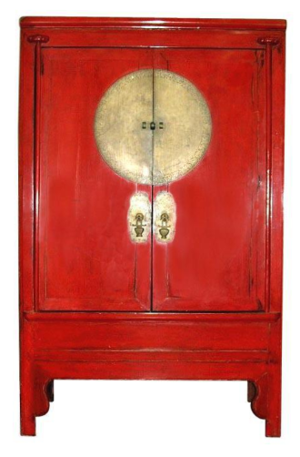 Chinese Qing Dynasty Large Red Lacquer Wedding Cabinet Armoire   Image 1 Of  10