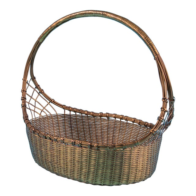 1960's Mid-Century Hand Woven Solid Brass Basket For Sale