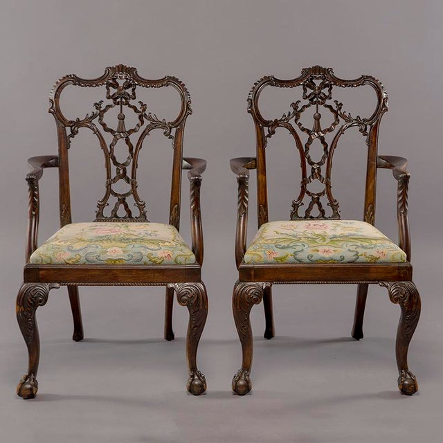 Brown Set 8 19th C Hand Carved Chippendale Tassel Back Dining Chairs For Sale - Image 8 of 13