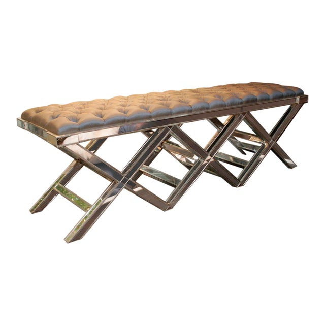 Custom Triple Silver Trim X-Band Mirrored Bench For Sale