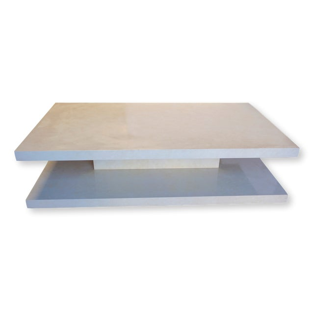Modern Two Tiered Faux Alabaster Coffee Table For Sale - Image 12 of 12