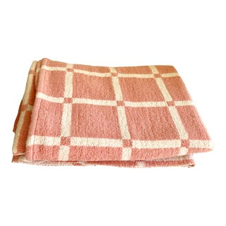 Vintage Soft Cotton Pink & White Blanket For Sale