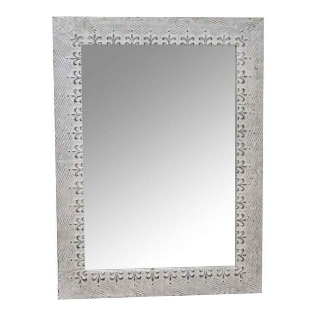Antique White Tin Mirror With Fleur De Lis Border For Sale