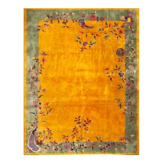 1920s Antique Chinese Art Deco Rug- 9′ × 11′6″ For Sale