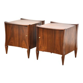 Walnut and Brass MCM Nightstands - a Pair For Sale