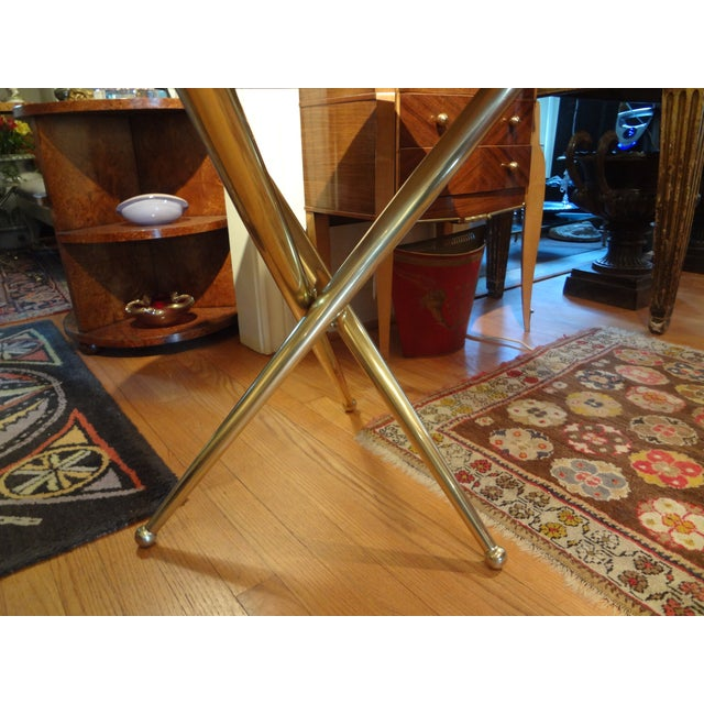 Italian Gio Ponti Inspired Brass and Marble Table - Image 3 of 8