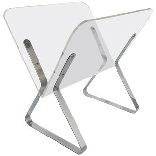 Milo Baughman Style Mid-Century Modern Chrome and Lucite Magazine Stand, 1960s For Sale