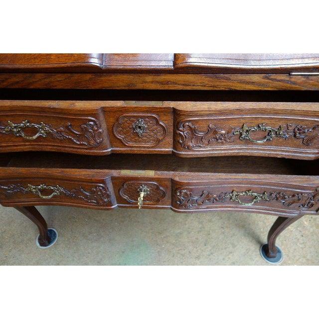 Brown Antique French Carved Oak Secretary Desk For Sale - Image 8 of 11