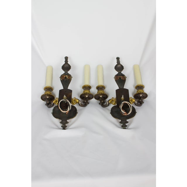 Neoclassical Early 20th Century Two Toned Gilt Bronze Sconces - a Pair For Sale - Image 3 of 7
