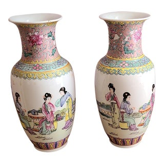 1970s Late 20th Century Chinese Hand Decorated Porcelain Apocryphal Six-Character Zhuanshu Seal-Script Base-Mark Vases - a Pair For Sale