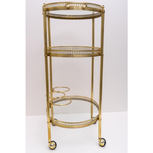 Metal Hollywood Regency Oval Brass Bar Cart, 1970s Florence Italy For Sale - Image 7 of 13