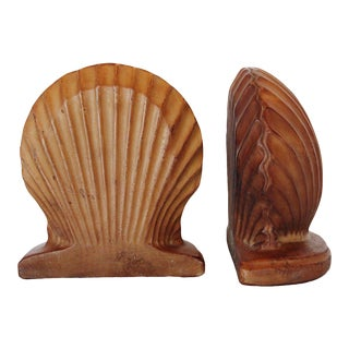 Large Coastal Style Shell Bookends - a Pair For Sale