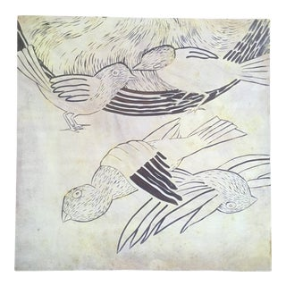 Vintage Mid-Century Bird Woodcut Board For Sale