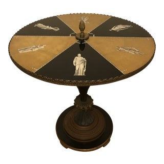 1930s - 1940s Pedestal Style Gueridon Table With Hand-Painted églomisé For Sale