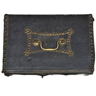 1810s Federal Period Leather Document Box by Robert Burr For Sale