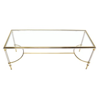 Brass Chrome and Glass Low Console or Coffee Table For Sale