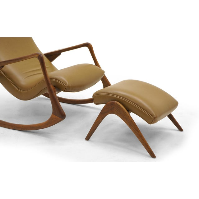 Vladimir Kagan Contour Rocker with Ottoman, Holly Hunt Leather, Excellent - Image 5 of 11