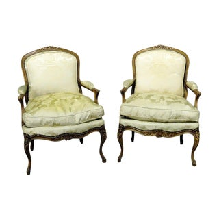 Pair of Louis XV Style Arm Chairs For Sale