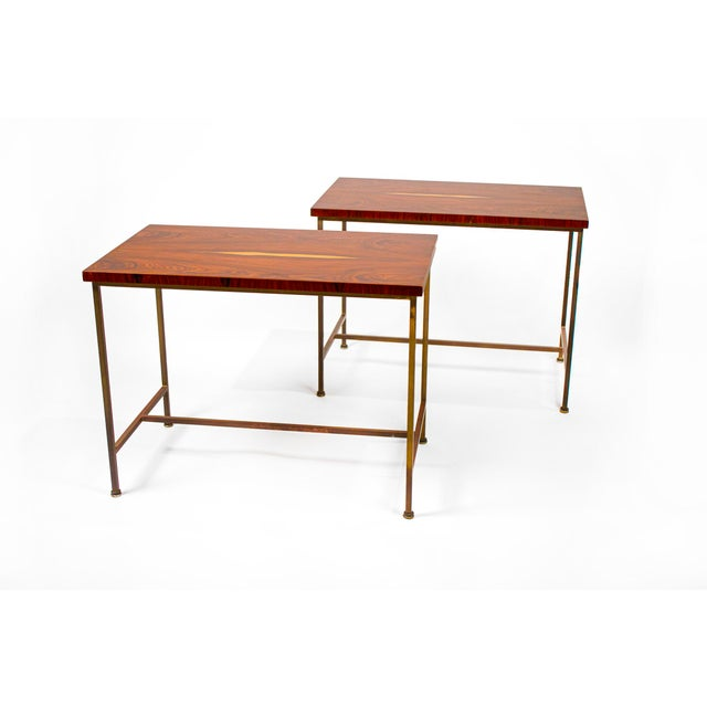 Metal Book-Matched Rosewood Side Tables by Paul McCobb for Calvin For Sale - Image 7 of 7