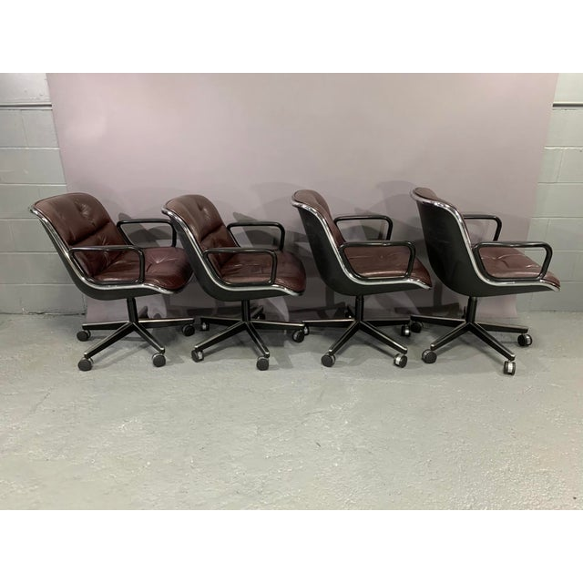 Leather Executive Chairs by Charles Pollock for Knoll International - Set of 4 For Sale - Image 9 of 13