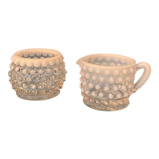 Vintage Hobnail Ombré Cream + Sugar Set - 2 Pieces For Sale