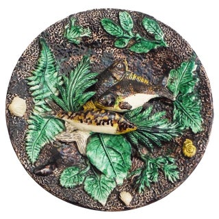 19th Century Francois Maurice Majolica Palissy Fish Wall Platter For Sale