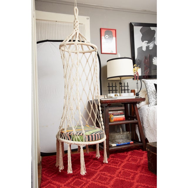 Vintage Boho Chic Macrame Hanging Chair For Sale - Image 13 of 13