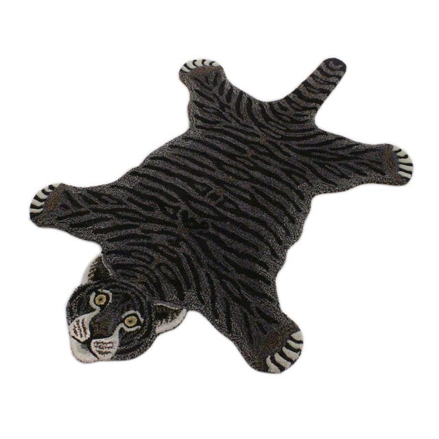 Black Contemporary Decorate Wild Black Tiger Design Handcuffed Area Rug For Sale - Image 8 of 8