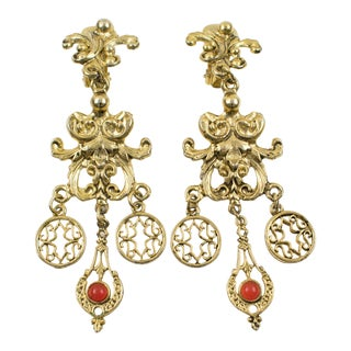 French Zoe Coste Paris Gilt Metal Baroque Dangling Clip on Earrings For Sale