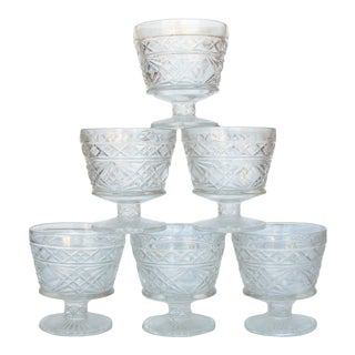 Midcentury Faceted Glass Coupes, Set of 6 For Sale