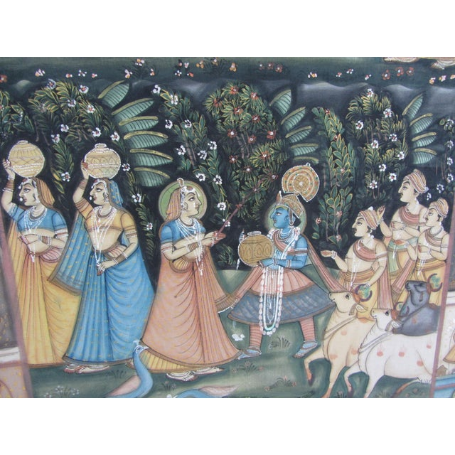 Vintage Hand Painted Indian Silk Tapestry - Image 4 of 8