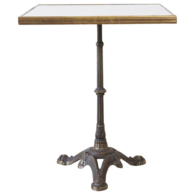 French Bronzed Iron and Faux Marble Bistro Table For Sale