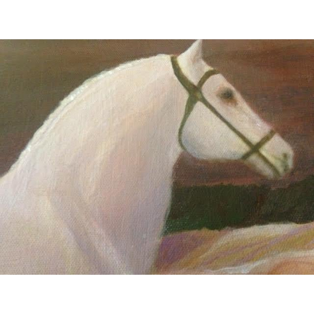 """Rustic """"White Horse Listening"""" Contemporary Painting For Sale - Image 3 of 3"""