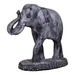 Large Vintage Indian Carved Stone Elephant Sculpture For Sale