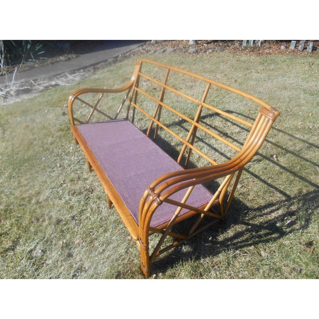 Vintage 1960's Heywood-Wakefield Rattan Sofa For Sale - Image 5 of 8
