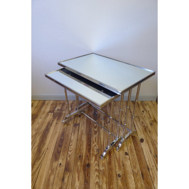 Mid-Century Modern 1950s Hollywood Regency Bronze Mirrored Nesting Tables - a Pair For Sale - Image 3 of 5