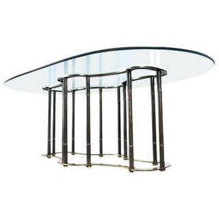 "Mastercraft Hollywood Regency Brass Bamboo ""Racetrack"" Dining Table For Sale"
