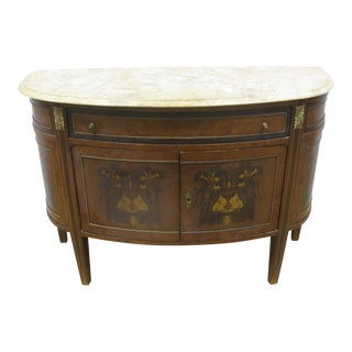 Antique French or Italian Demi Lune Marble Top Commode For Sale