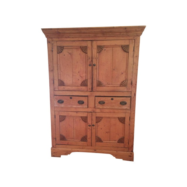 Charming Old Rustic Pine Linen Press Cabinet - Image 1 of 11