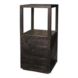 Sarreid Ltd Large Weathered Black Candlestand For Sale