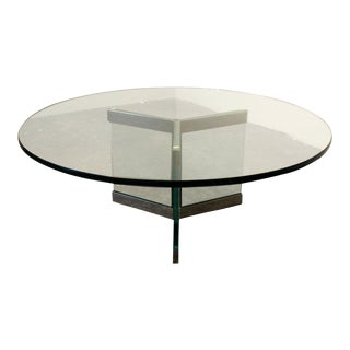 70's Modern Glass and Chrome Coffee Table by Leon Rosen for Pace Collection. For Sale