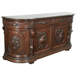 Exceptional 19th Century Solid Oak Louis XIII Demilune Hunt Enfilade Buffet For Sale