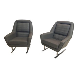 1970s Vintage Augusto Bozzi Style Modernist Cantilever Club Lounge Chairs - a Pair For Sale