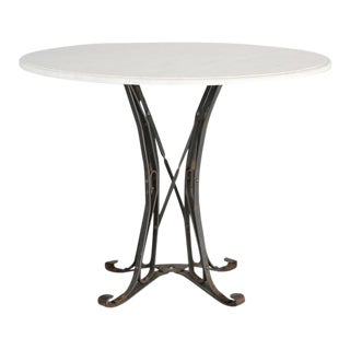 Small French White Faux Marble Top Kitchen or Game Table For Sale